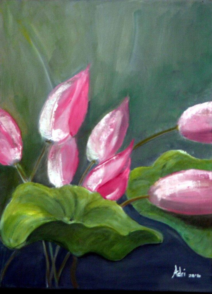 """Lotus Blooms"" painting by Adri Moller"