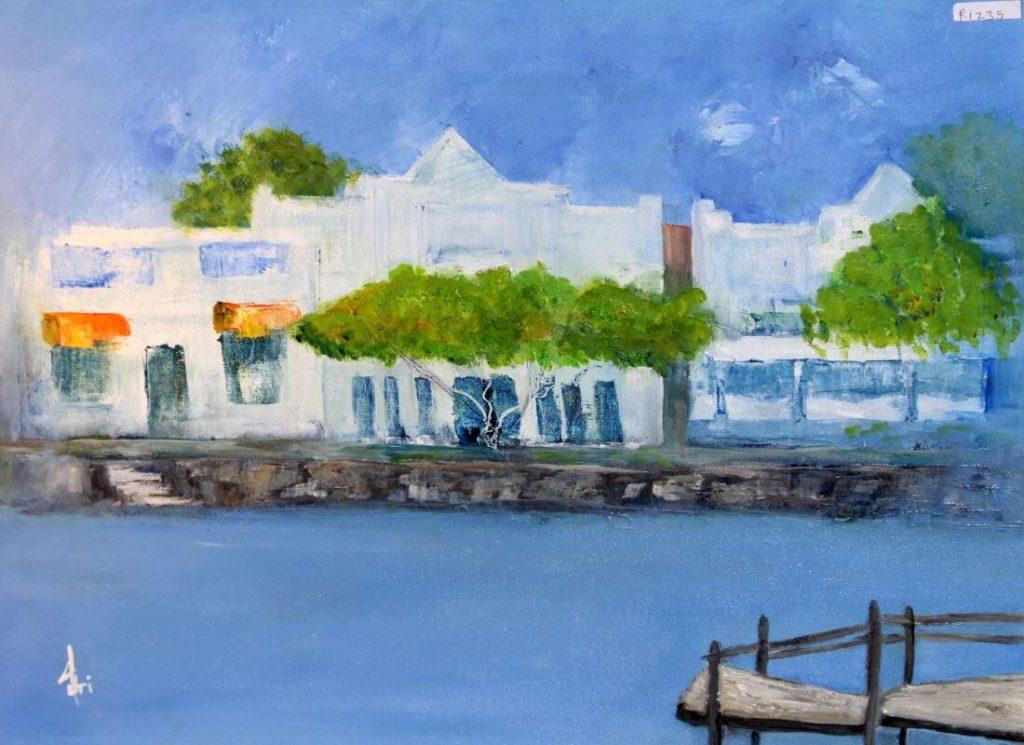 """Wharf Street"" painting by Adri Moller"