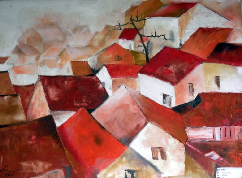"""""""Red Roofs"""" painting by Adri Moller"""