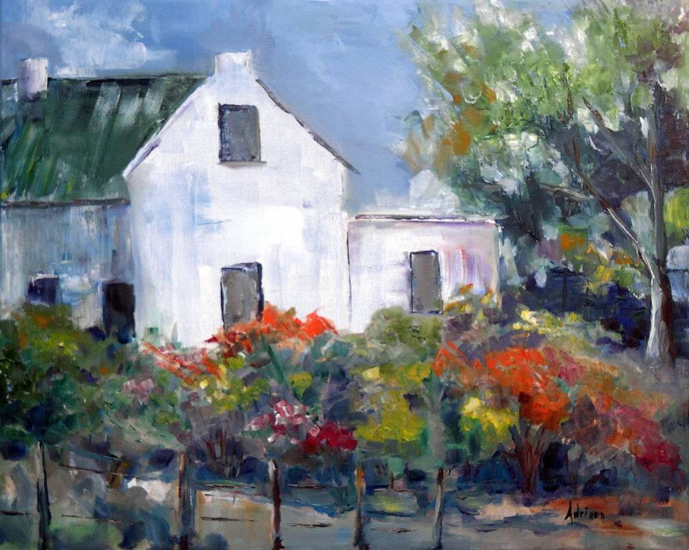 """""""Karoo Cottage Spring"""" painting by Adri Moller"""